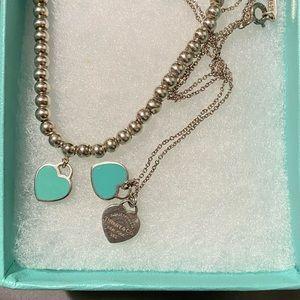 Tiffany blue enamel heart set.
